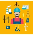 Electricity industry concept with power icons vector image vector image