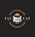 fat cat logo vector image vector image