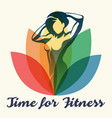 fitness poster with slogan time to vector image
