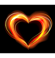 flaming heart vector image vector image