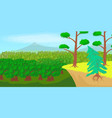 forest landscape horizontal banner cartoon style vector image vector image