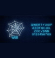 glowing neon sign spyder web banner design vector image vector image
