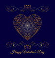 gold fretwork floral heart over blue happy vector image