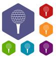 golf ball on a tee icons set hexagon vector image vector image