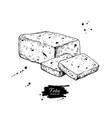 greek feta cheese block slice drawing vector image