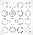 grunge round paper stickers black and white 2 vector image vector image