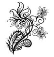 hand drawn flowers lilies tattoo sketch vector image vector image