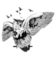 hand drawn owl for your design wildlife concept vector image vector image