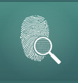 id fingerprint icon with magnifying glass and vector image vector image