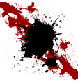 ink black and red paint splatter background vector image vector image