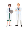 male and female doctors wearing white coats vector image
