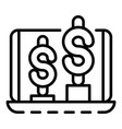 money graph up icon outline style vector image vector image