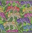 multicolor leopard pattern seamless green leaves vector image vector image