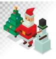 Santa Claus snowman icons isometric 3d vector image