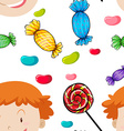 Seamless background with kids and candy vector image vector image