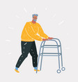 senior using a walker isolated vector image vector image