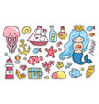 set cartoon stickers patches badges pins vector image vector image