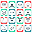set of 16 multimedia icons includes bullhorn vector image vector image