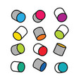 set of colorful 3d cylinders in pop art style vector image