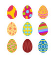set of colorful easter eggs with mandoline design vector image