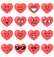 set of red hearts with different emotions vector image vector image