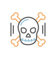 skull with bones icon thin line isolated vector image vector image