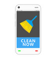 smartphone with cleaning application vector image vector image