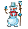 snowman with carrot scarf bucket on the head and vector image