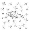 starry sky simple drawing planet and stars vector image