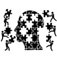 teamworks in head puzzle vector image vector image