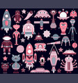 the cartoon set with flat aliens spaceships vector image vector image