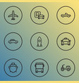 transport icons line style set with parking vector image vector image