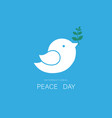 white dove and olive branch on blue sky vector image