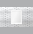 white frame on a white brick wall mock up vector image vector image