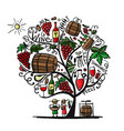 wine tree sketch for your design vector image