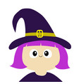witch girl wearing curl hat costume cartoon funny vector image vector image