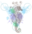 Zentangle stylized Sea Horse in triangle frame vector image vector image