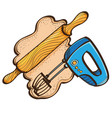set of rollout dough with rolling pin and mixer vector image
