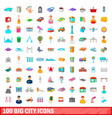 100 big city icons set cartoon style vector image vector image