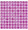 100 nursery school icons set grunge pink vector image vector image