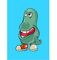a green smiling mini monster vector image vector image