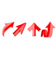 arrows set 3d red up icons vector image