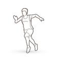 athlete runner a man runner running outline vector image