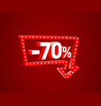 banner 70 off with share discount percentage neon vector image vector image