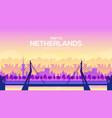big netherland bridge on the landscape background vector image vector image