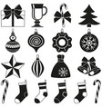 black and white 18 xmas elements silhouette set vector image vector image