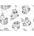 black and white seamless pattern of cute vector image vector image
