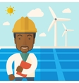 Black man in solar panel and windmills vector image vector image