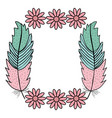 bohemian frame with feathers and flowers vector image vector image