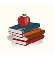 Books and apple background vector image